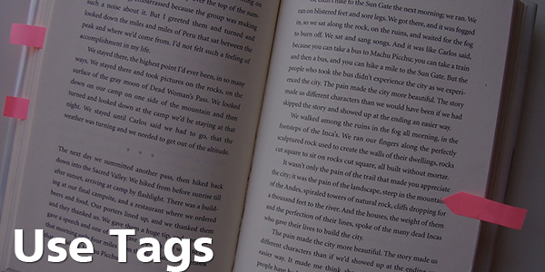 Use Tags - Book with Sticky Notes